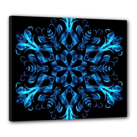 Blue Snowflake On Black Background Canvas 24  X 20
