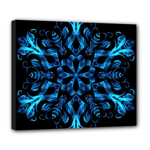 Blue Snowflake On Black Background Deluxe Canvas 24  X 20