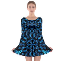 Blue Snowflake On Black Background Long Sleeve Skater Dress