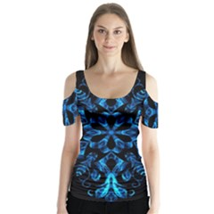 Blue Snowflake On Black Background Butterfly Sleeve Cutout Tee