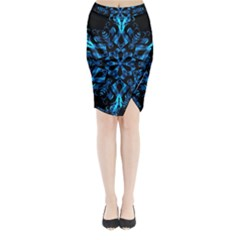 Blue Snowflake On Black Background Midi Wrap Pencil Skirt