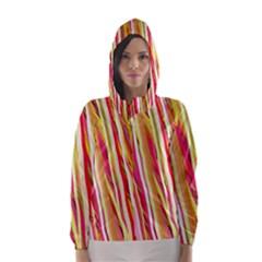 Color Ribbons Background Wallpaper Hooded Wind Breaker (women)
