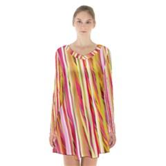 Color Ribbons Background Wallpaper Long Sleeve Velvet V Neck Dress