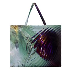 Out Of Time Glass Pearl Flowag Zipper Large Tote Bag by Nexatart