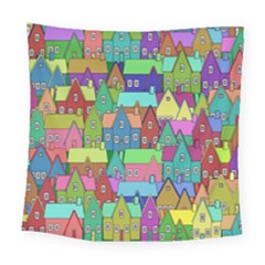 Neighborhood In Color Square Tapestry (large) by Nexatart