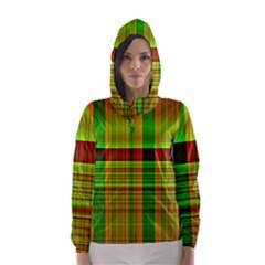 Multicoloured Background Pattern Hooded Wind Breaker (women)