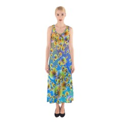 Color Particle Background Sleeveless Maxi Dress