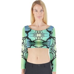 Branches With Diffuse Colour Background Long Sleeve Crop Top