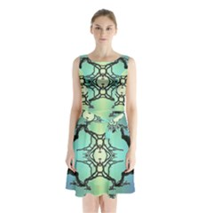 Branches With Diffuse Colour Background Sleeveless Chiffon Waist Tie Dress