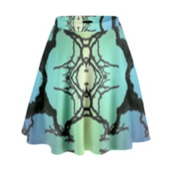 Branches With Diffuse Colour Background High Waist Skirt