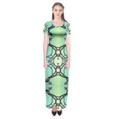 Branches With Diffuse Colour Background Short Sleeve Maxi Dress