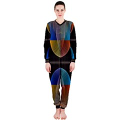 Black Cross With Color Map Fractal Image Of Black Cross With Color Map Onepiece Jumpsuit (ladies)