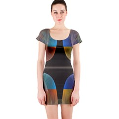 Black Cross With Color Map Fractal Image Of Black Cross With Color Map Short Sleeve Bodycon Dress