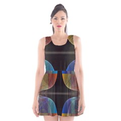 Black Cross With Color Map Fractal Image Of Black Cross With Color Map Scoop Neck Skater Dress by Nexatart