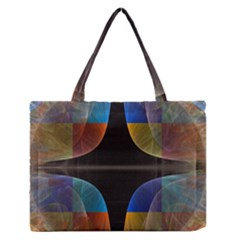Black Cross With Color Map Fractal Image Of Black Cross With Color Map Medium Zipper Tote Bag