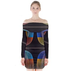 Black Cross With Color Map Fractal Image Of Black Cross With Color Map Long Sleeve Off Shoulder Dress by Nexatart