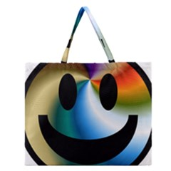Simple Smiley In Color Zipper Large Tote Bag by Nexatart