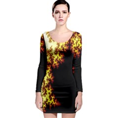 A Fractal Image Long Sleeve Bodycon Dress