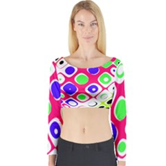 Color Ball Sphere With Color Dots Long Sleeve Crop Top