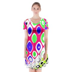 Color Ball Sphere With Color Dots Short Sleeve V Neck Flare Dress by Nexatart