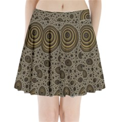 White Vintage Frame With Sepia Targets Pleated Mini Skirt