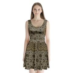 White Vintage Frame With Sepia Targets Split Back Mini Dress