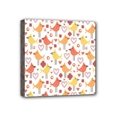 Happy Birds Seamless Pattern Animal Birds Pattern Mini Canvas 4  X 4  by Nexatart
