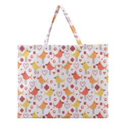 Happy Birds Seamless Pattern Animal Birds Pattern Zipper Large Tote Bag