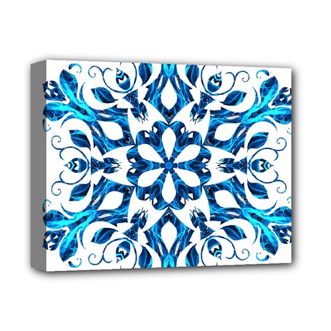 Blue Snowflake On Black Background Deluxe Canvas 14  X 11  by Nexatart