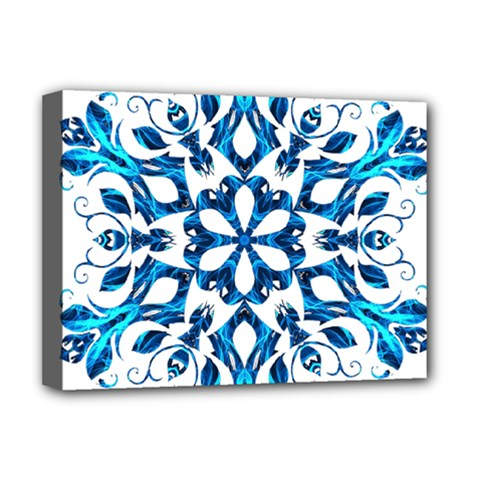 Blue Snowflake On Black Background Deluxe Canvas 16  X 12