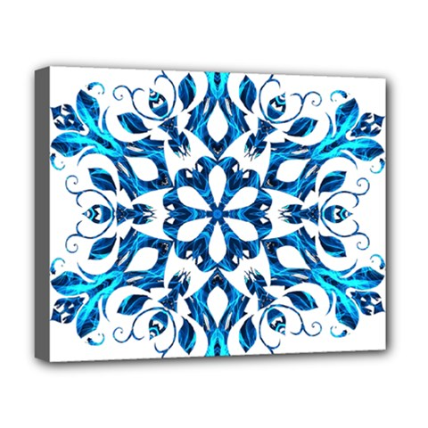 Blue Snowflake On Black Background Deluxe Canvas 20  X 16
