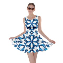 Blue Snowflake On Black Background Skater Dress