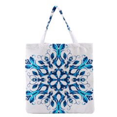 Blue Snowflake On Black Background Grocery Tote Bag by Nexatart