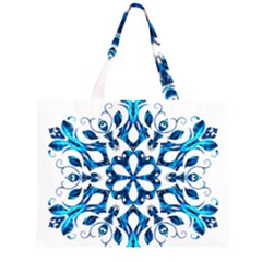 Blue Snowflake On Black Background Zipper Large Tote Bag