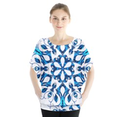 Blue Snowflake On Black Background Blouse