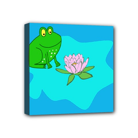 Frog Flower Lilypad Lily Pad Water Mini Canvas 4  X 4