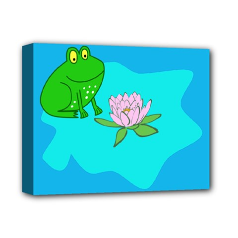 Frog Flower Lilypad Lily Pad Water Deluxe Canvas 14  X 11