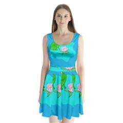 Frog Flower Lilypad Lily Pad Water Split Back Mini Dress
