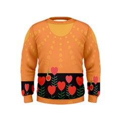 Love Heart Valentine Sun Flowers Kids  Sweatshirt