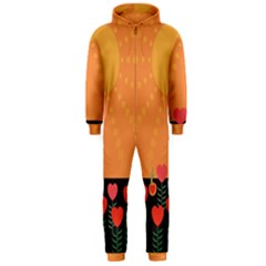 Love Heart Valentine Sun Flowers Hooded Jumpsuit (men)