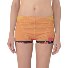 Love Heart Valentine Sun Flowers Reversible Bikini Bottoms