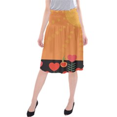 Love Heart Valentine Sun Flowers Midi Beach Skirt