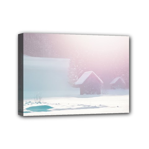 Winter Day Pink Mood Cottages Mini Canvas 7  X 5