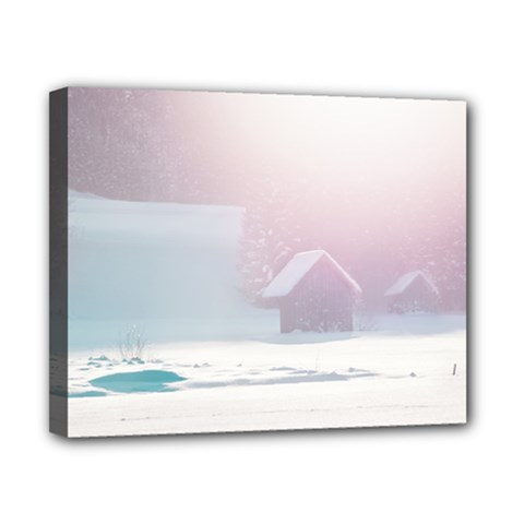 Winter Day Pink Mood Cottages Canvas 10  X 8  by Nexatart