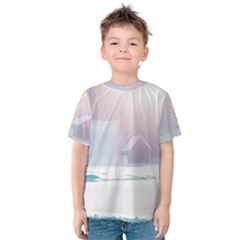 Winter Day Pink Mood Cottages Kids  Cotton Tee