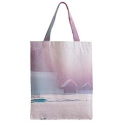 Winter Day Pink Mood Cottages Zipper Classic Tote Bag by Nexatart