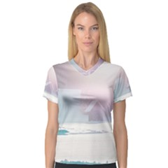 Winter Day Pink Mood Cottages Women s V Neck Sport Mesh Tee
