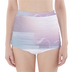 Winter Day Pink Mood Cottages High Waisted Bikini Bottoms