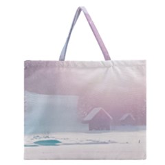 Winter Day Pink Mood Cottages Zipper Large Tote Bag by Nexatart