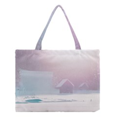 Winter Day Pink Mood Cottages Medium Tote Bag